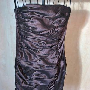Strapless bronze iridescent taffeta dress